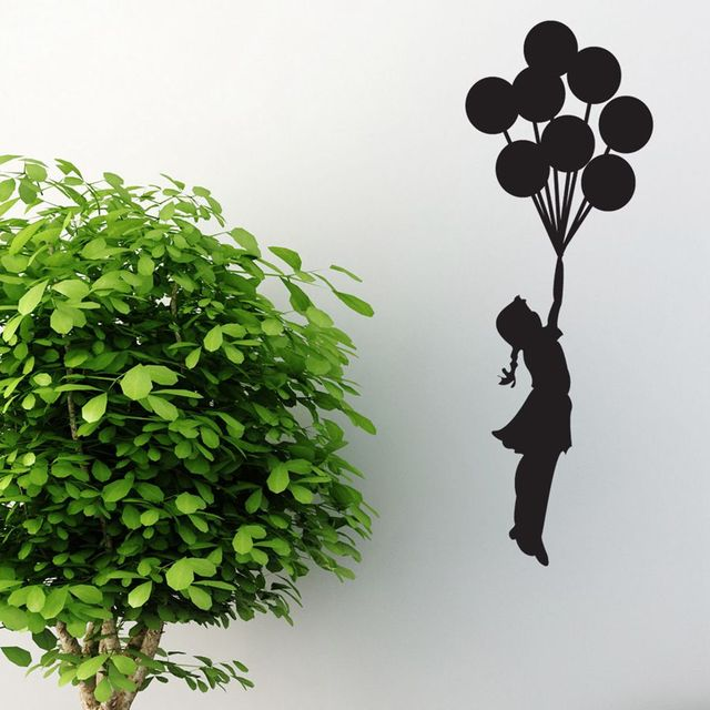 Free Shipping BANKSY WALL STICKER BALLOON GIRL STYLE DECAL,Free shipping Height 55cm-160cm Three Sizes