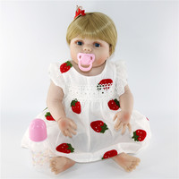 Cute strawberry skirt princess baby doll reborn 57cm silicone reborn baby girl dolls toys for children gift Can be washed bebes