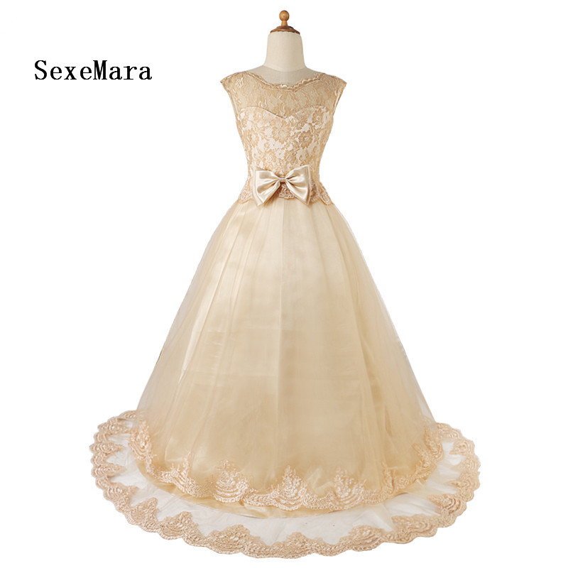 Sweet Real Picture Lace Bow 2018 Flower Girls Dress for Party And Wedding Communion Dress Pageant Ball Gown for Girls girls formal dress lace three quarter ball gown backless bow sash long flower girls communion 2016 pageant dress 1 14 years old