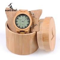 BOBO BIRD Brand Design B22 Creative Fashion Nature Bamboo Men S Watch Green Dial Silver Pointer