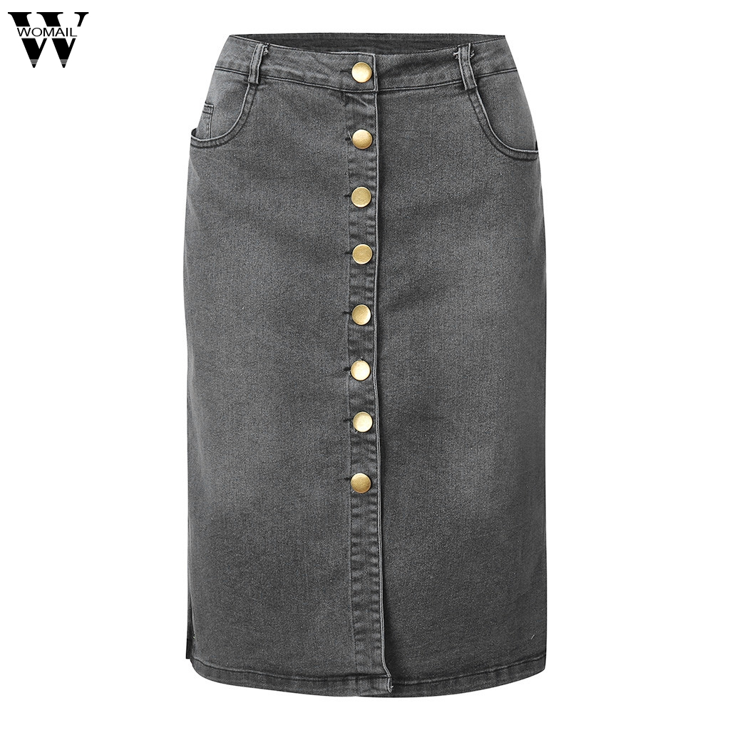 Womail Casual Skirts Button Pencil-Split Womens Fashion Summer Ladies New Front Denim title=