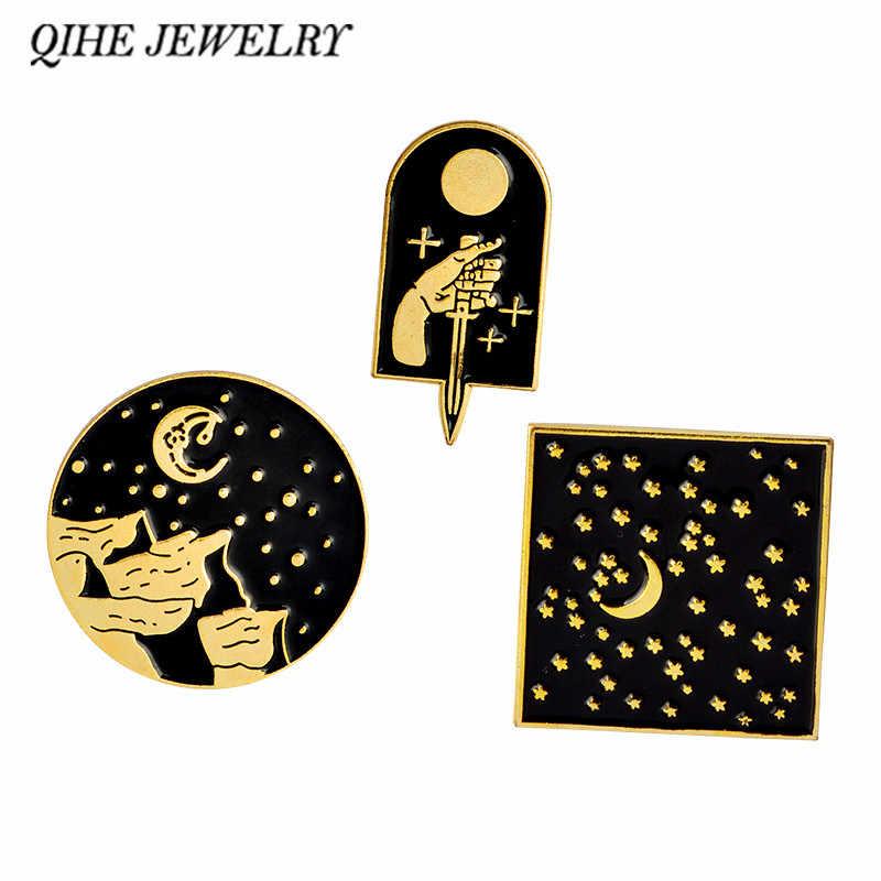 Qihe Perhiasan Moon Star Mountain Belati Emas/Perak Gelap Geometris Enamel Pin Kerah Pin Lencana Bros untuk Pria Wanita