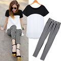 plus size black white casual 2016 short sleeve blouse long stripe pants ladies two piece set summer women ensemble femme sets