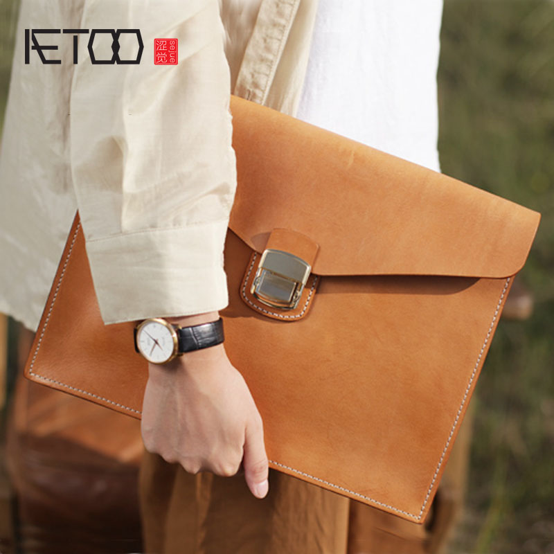 53e94edd0ddb AETOO Original retro handmade vegetable tanned leather lock envelope bag  men s female a4 clutch bag briefcase