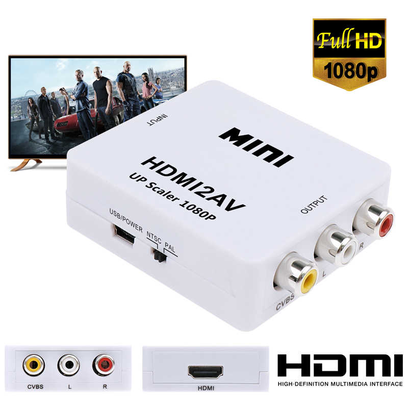 JCKEL HDMI vers RCA AV CVBS convertisseur de composants Scaler 1080P adaptateur boîte de câble pour moniteur L/R vidéo HDMI2AV HD prise en charge NTSC PAL