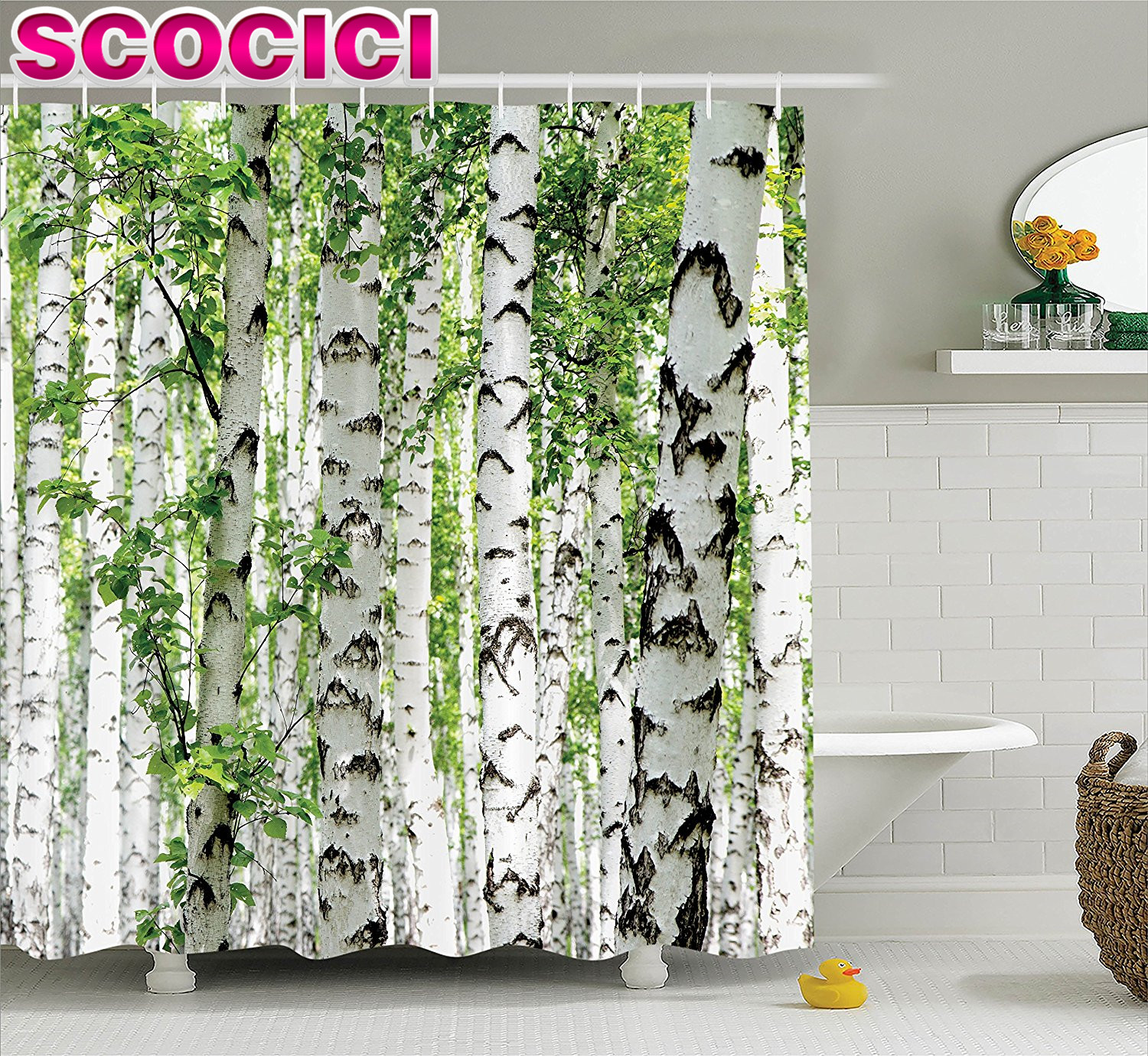 Birch tree shower curtains - Woodland Decor Shower Curtain Set Birch Trees In The Forest Summertime Wildlife Nature Themed Decorating Picture Bathroom Access