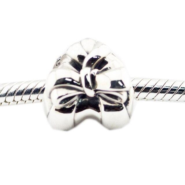 Pandulaso Brilliant Dell'arco Del Cuore di Fascino dell'argento sterlina 925 Monili Misura I Braccialetti Europei Originale Per La Donna FAI DA TE Perline D'argento