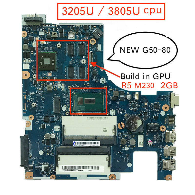 100% New mother board for Lenovo G50-80 <font><b>ACLU3</b></font>/<font><b>ACLU4</b></font> <font><b>NM</b></font>-<font><b>A361</b></font> Notebook Motherboard pc with 3205U 3805U cpu R5 M230 2GB image