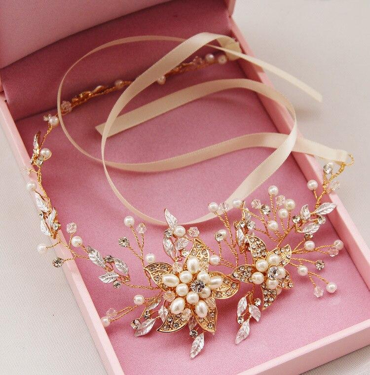 Damen Strass Braut Hochzeit Blume Perlen Stirnband Haarspange Schmuck Neu