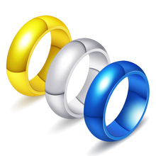 цена на Ajojewel Size 7-12 Classic Stainless Steel Blue Golden Silver Glossy Rings For Men High Quality Party Dance Jewelry