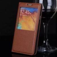 DEEVOLPO Luxo Caixa do Couro Genuíno Real Para Samsung Galaxy Note N9000 3 Note3 Virar Sacos de Moda Ver Janela Tampa do Suporte
