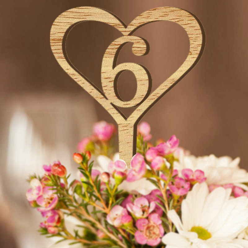 Heart Shape Wooden Table Numbers Wedding Wood Number of Table 1-10 Numeric Topper Wedding Signs for Flower Seats Party Decor