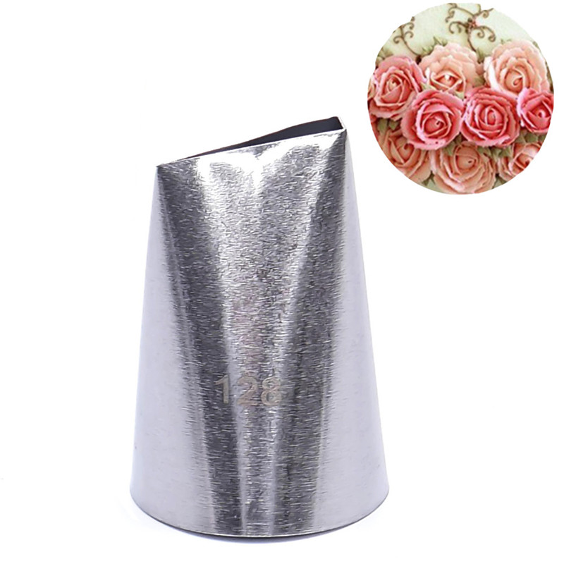 Hot Sale #128 Rose Flower Metal Cream Tips Pastry Tool Stainless Steel Piping Nozzles Free Shipping