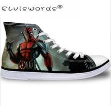 ELVISWORDS Super Hero Deadpool Print Men High Top Lace-up Breathable Canvas Shoes Classic Men's Vulcanize Shoe Fashion Male Flat