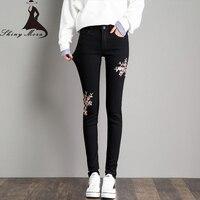 SHINYMORA 2017 Autumn Women S Pencil Pants Black Jeans Elastic Skinny Pants Embroideried Flower Elegant Denim
