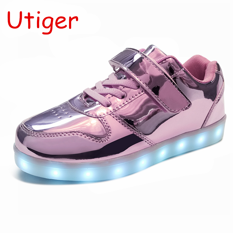 Child Kids Baby Boy Girl LED Luminous Soft Crib Shoes Canvas Sneakers Trainers
