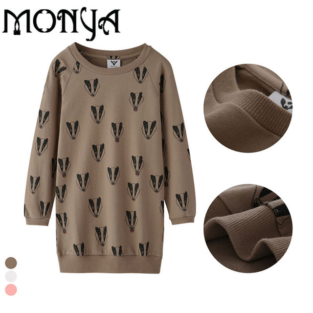 Bobo Choses Badger MiiRodini Girls Tops Long Sweatshirt Autumn Animal Cotton Printed Shirts For Girls Teen Clothes 8 Year Monya