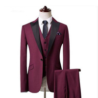 Classic high quality men's suits wine red suit collar single breasted men's business office suite (jacket + pants + vest)