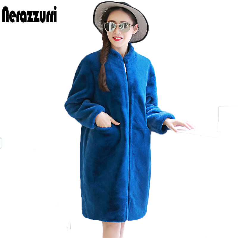 Nerazzurri Plus Size Faux Fur Jacket 6XL 7XL Svart kvinnor Lös överdimensionerad kokongrock Winter Elegant Fake Fur Coat Zipper Outwear
