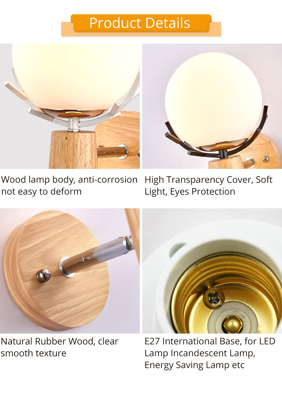 Creative LED Wall Light Sconces E27 Bulb Wood Retro Wall Lamps Hotel Home Living Room Bedroom bedside indoor lighting Fixture (4)