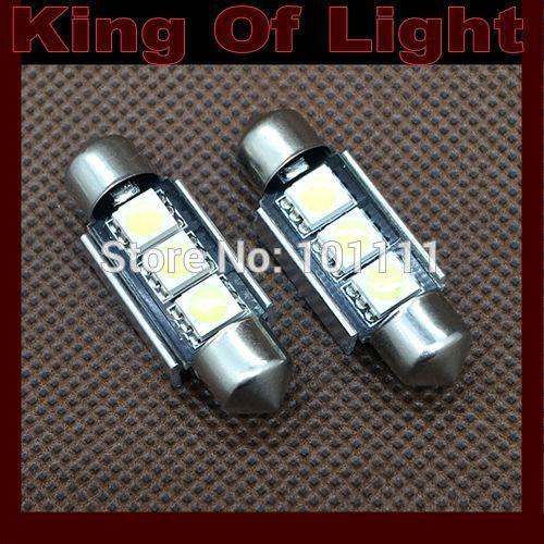 50x Wholesale Car led 36MM festoon light c5w 3 leds smd 3smd 5050 CANBUS OBC error free led lamp