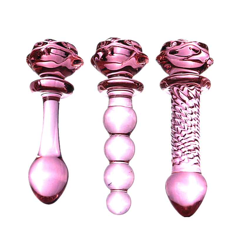 Newest 3 Style Red Rose Dilatador Anal Dildo Beads Butt Plug Glass Sexo Anal Toys Buttplug Sex Toys For Men Glass Anal Toy