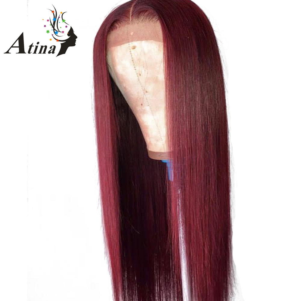 99J Red Straight Lace Front Human Hair Wig With Baby Hair 150 Density Preplucked Brazilian Remy
