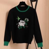 SRUILEE 2017 Autumn Winter New Women Sweaters Pullovers Bird Flowers Beading Knit Top Runway Blouse Luxury Fashion Jumper S104