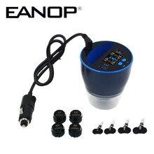 EANOP TPMS C500 Monitor ciśnienia w oponie samochodu bezprzewodowy Monitor ciśnienia w oponach z QC3.0 Quick Charge 4 szt. Zewnętrzne wewnętrzne czujniki