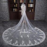 3 Meter White Cathedral Wedding Veils 2018 Long Lace Edge Bridal Veil Sequins Wedding Accessories Bride Mantilla Wedding Veil