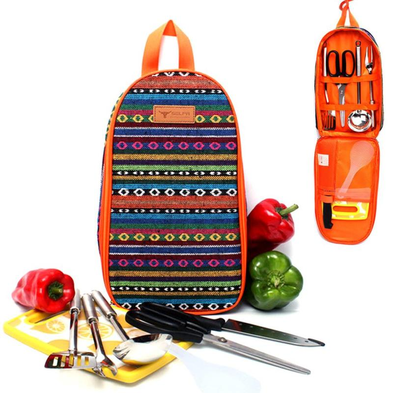 Portable Foldable Cooking Tools Bag Tote Storage Bag Outdoor Camping Tableware Cutlery Kits Bag Makeup Cosmetic Organizer Holder