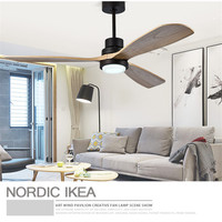 Nordic Retro Dinning Room Ceiling Fan Light Modern Bedroom Living Room Restaurant Coffee Shop Solid Wood Fan Lamp Free Shipping
