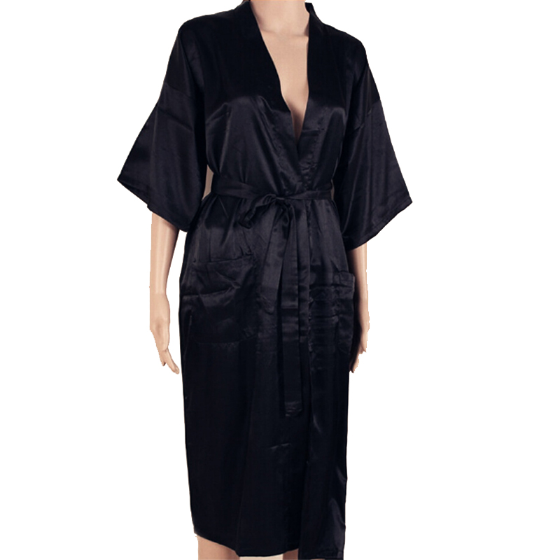 Brand New Black Men Silk Long Kimono Robe Gown Solid Color Sleepwear Summer Casual Nightgown Plus Size S M L XL XXL XXXL 011003