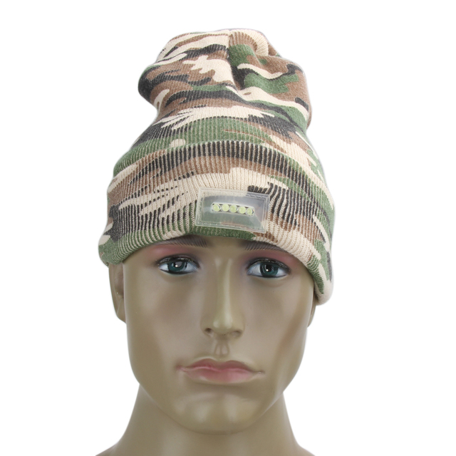 c03663e7ce5 5 LED light Hat Beanies Gorro Camouflage Acrylic Fishing Hunting Camping  Running Black Caps Knitting Woolen