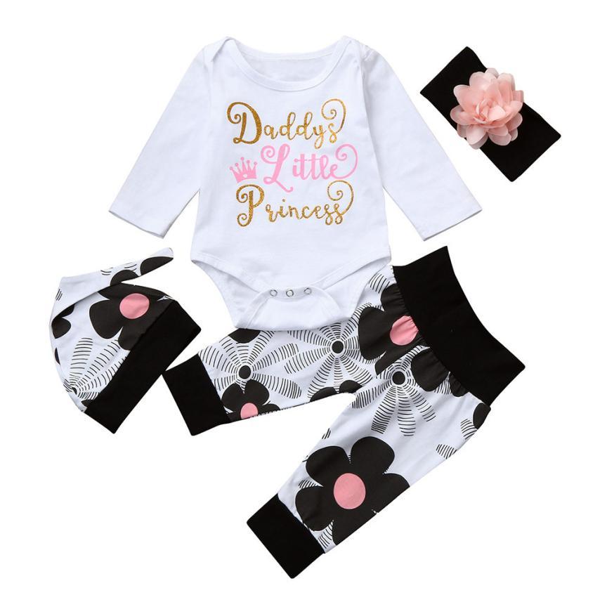 2322570dd8 baba lány ruhák Újszülött csecsemő Baby Girl Letter Romper Tops + ...