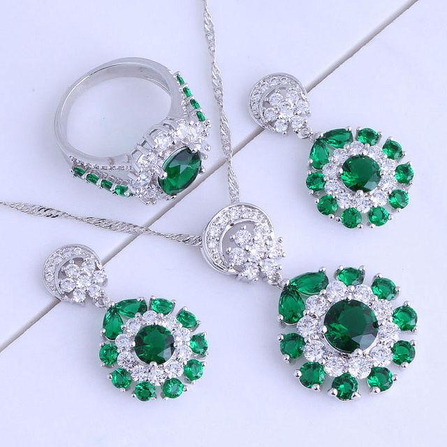 Calidad superior de La Flor Verde Esmeralda de Imitación y Cubic Zirconia Plateado Sistemas de la joyería Tamaño 5.5/6.5/7.5/8.5 J0641