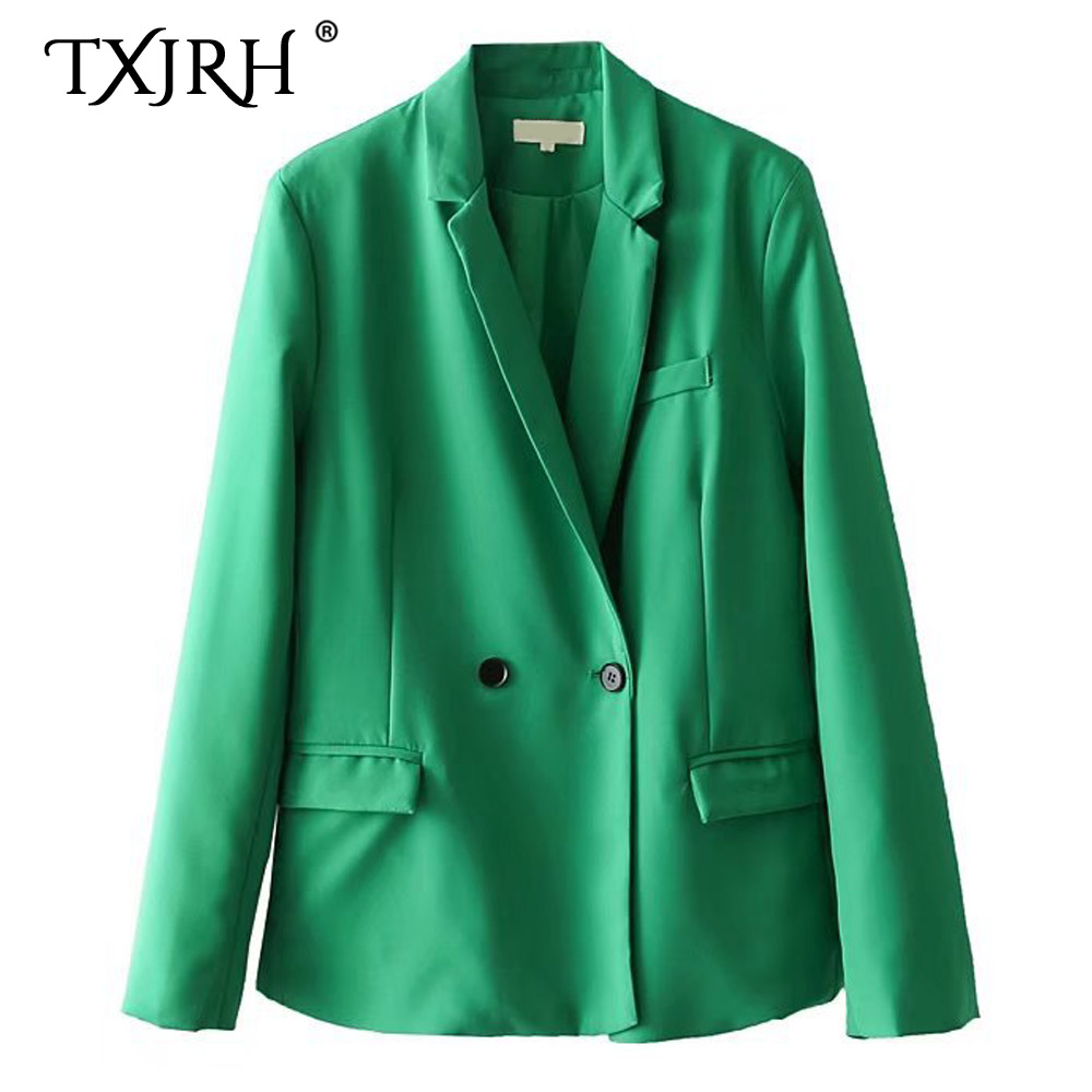 TXJRH Stylish Candy Color Notched Collar Blazer Double-breasted Woman Slim fit Suit Jacket Coat Chic Casual OL Outerwear 3 Color