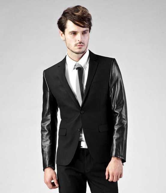 Latest Coat Pant Designs Black Shining Casual Fashion Suit For Men Notched Lapel Stylish Skinny 2