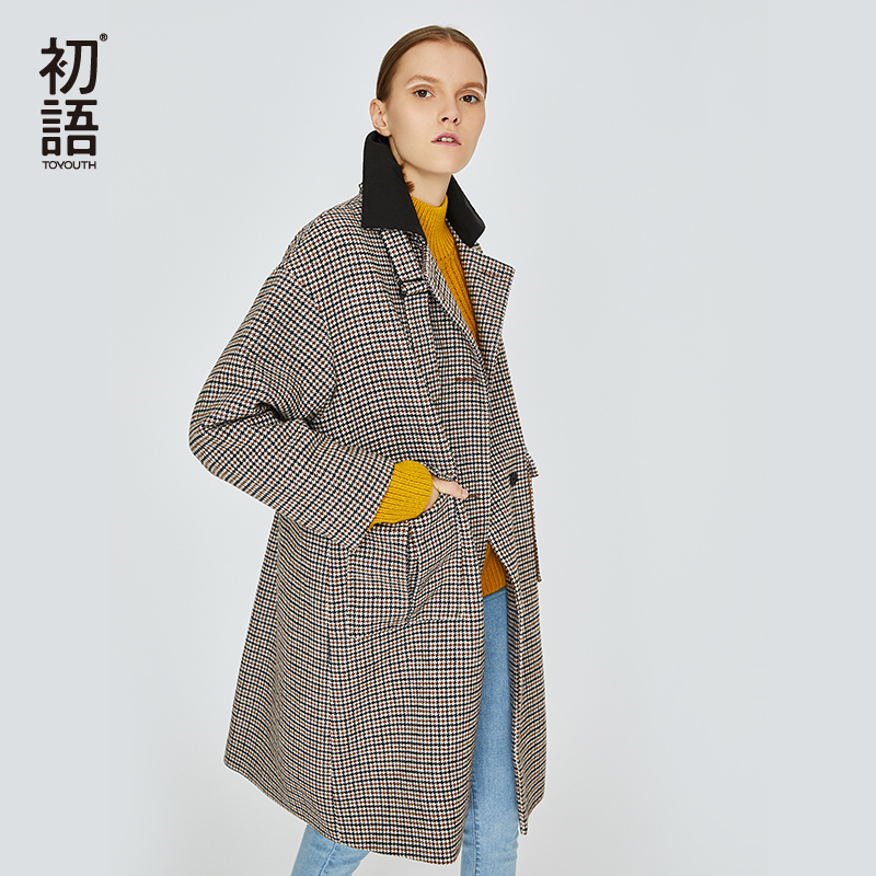 Toyouth Plaid Long Coat Warm Long Sleeve Blends Checked Single Breasted Coat For Female Korean Blends