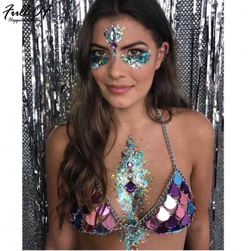 964a6727c6a88 Sexy Summer Festival Style Metal Chain Mirror Crop Tops Glitter Mermaids  Tops Beachwear Bohemian Womens Bralette