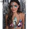 Sexy Summer Festival Style Metal Chain Mirror Crop Tops Glitter Mermaids Tops Beachwear Bohemian Womens Bralette