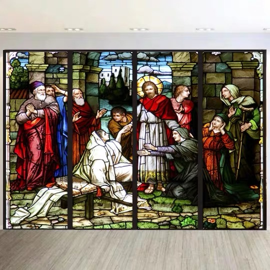 Custom Size Window Film Door Sticker Father Lord Jehovah God And Jesus Christ Pictures Wall Stickers Glass Decor Church Glass