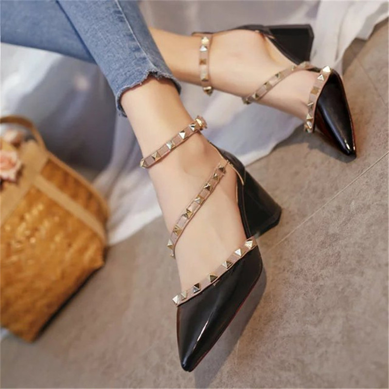 a959c457cb7c Runway Scarpin Nude High Heels Pointed Toe Rivet Pumps Fashion Brand Women  Shoes 2017 Italian Ankle Strap Stud-in Women s Pumps from Shoes on  Aliexpress.com ...