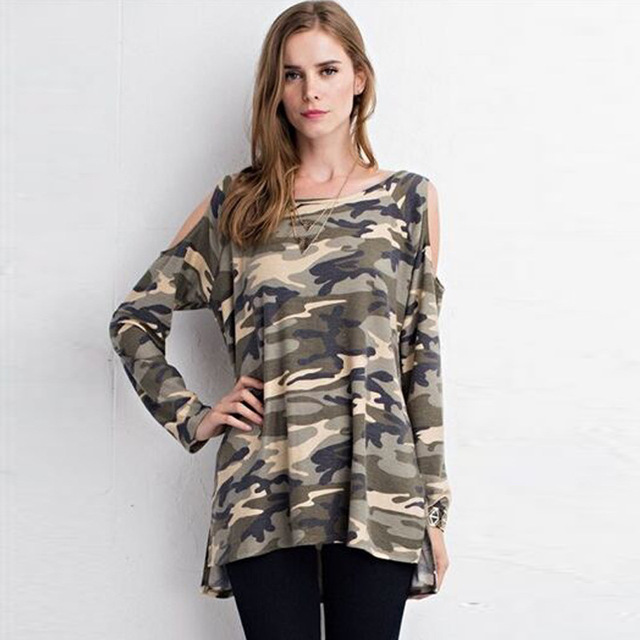 cd8ec87ccf13e Female Camouflage T-shirt tees O neck Strapless Long-sleeved t-shirts for women  Camo Printed Ladies Plus Size Tops Army Green