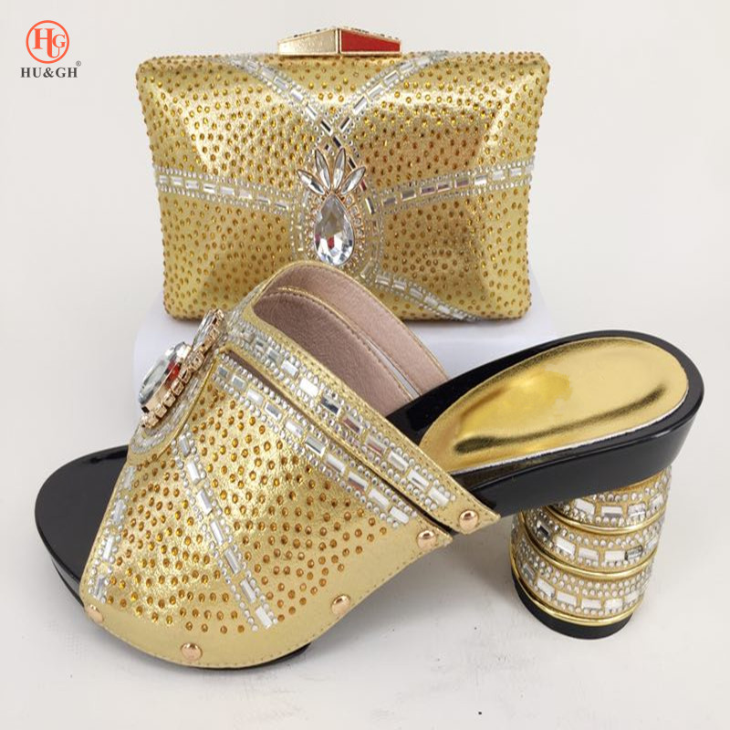 2018 Top Selling Italian Shoes And Bags To Match Set African Rhinestone Woman Pumps Shoes And Purse Set For Wedding Gold Color
