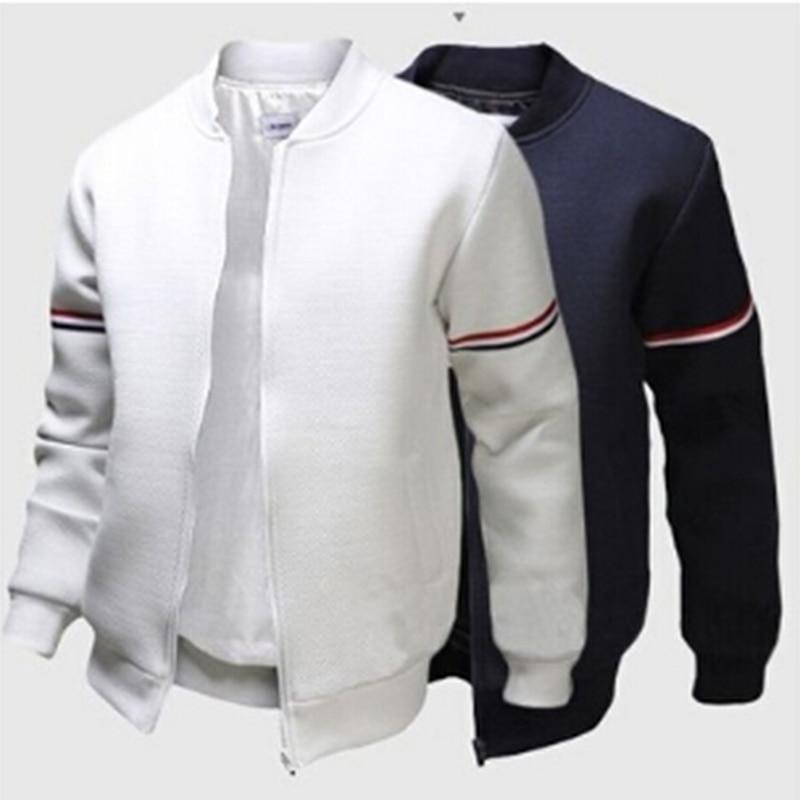 3XL Fashion Sportwear Men Baseball Jacket Decorative Ribbon White Casual Coat Men Bomber Jacket Mens Jacket And Coat