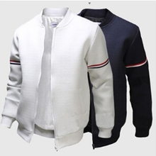 3XL Fashion Sportwear Men Baseball Jacket Decorative Ribbon White Casual Coat Me