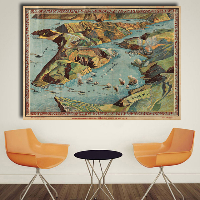 QKART Wall Art Work Oil Printing Old Map of the World Canvas Print ...