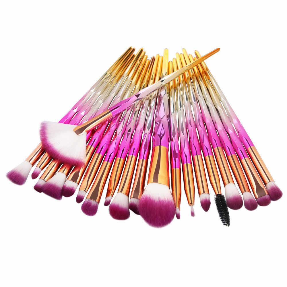 20Pcs Crystal Diamond Makeup Brushes Plating Powder Foundation Eye Shadow Brushes Brochas Para Maquillaje Cosmetic Beauty Tool