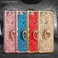 De silicona case para apple iphone 5 5s se 6 s 6 s plus 3d diamond flower silicona coque cubierta del soporte para el iphone casos